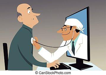 bezoek, feitelijk, arts