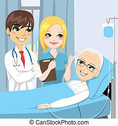 bezoek, senior, patiënt, arts