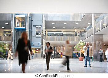 bezoekers, in, commercieel centrum