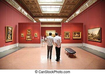 bezoekers, in, de, museum