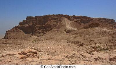 bezoekers, in, masada, bolwerk, in, de, judaean, woestijn, israel.