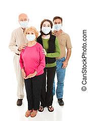 bezorgd, -, gezin, epidemie