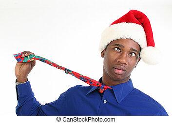 bezorgd, kerstman, beklemtoonde, hoedje, of, man