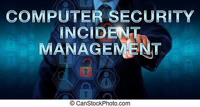 bezpečí, management, naléhavý, událost, počítač