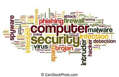 bezpečí, pojem, jmenovka, mračno, počítač