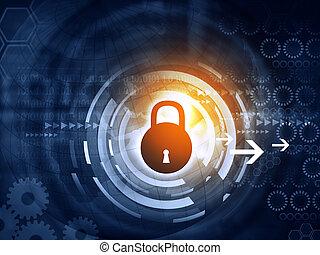 bezpečí, pojem, prst background, internet