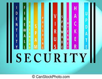 bezpieczeństwo, barcode, słowo, barwny