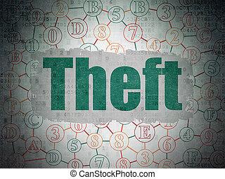 bezpieczeństwo, concept:, kradzież, na, cyfrowy, dane, papier, tło