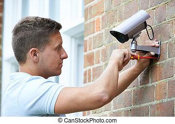 bezpieczeństwo, doradca, stosowny, asekuracyjny aparat fotograficzny, do, dom, ściana