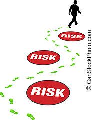 bezpieczeństwo, handlowiec, omijać, niebezpieczeństwo, ryzyko