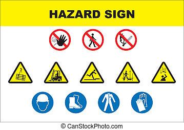bezpieczeństwo, i, niebezpieczeństwo, ikona, komplet
