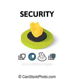bezpieczeństwo, ikona, styl, różny