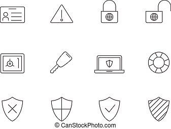bezpieczeństwo, ikony, -, szkic, internet