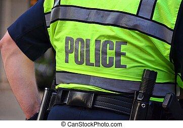 bezpieczeństwo, kamizelka, neon, policjant