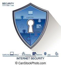 bezpieczeństwo, klucz, zagadka, internet, tarcza, wektor, hala