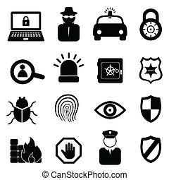 bezpieczeństwo, komplet, ikona