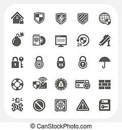 bezpieczeństwo, komplet, ikony