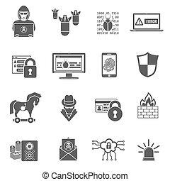 bezpieczeństwo, komplet, internetowa ikona