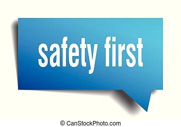 bezpieczeństwo pierwsze, błękitny, 3d, bańka mowy