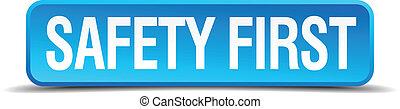 bezpieczeństwo pierwsze, błękitny, 3d, realistyczny, skwer, odizolowany, guzik