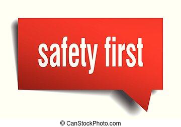 bezpieczeństwo pierwsze, czerwony, 3d, bańka mowy
