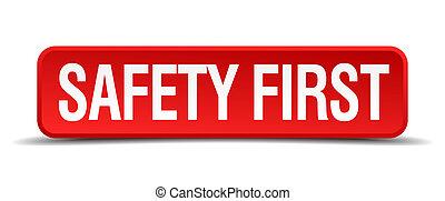 bezpieczeństwo pierwsze, czerwony, 3d, skwer, guzik, odizolowany, na białym