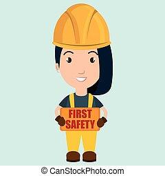 bezpieczeństwo pierwsze, pracownik, ikona