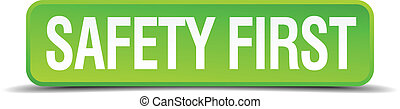 bezpieczeństwo pierwsze, zielony, 3d, realistyczny, skwer, odizolowany, guzik