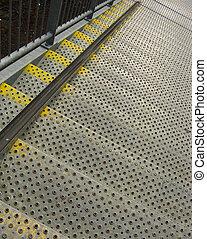 bezpieczeństwo, przemysłowy, schody, metal, kroki