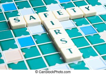 bezpieczeństwo, słowo, robiony, przez, litera, kawałki