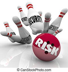 bezpieczeństwo, szpilki, ryzyko, bowling piłka, niebezpieczeństwo, risking, bezpieczeństwo
