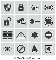 bezpieczeństwo, wektor, czarnoskóry, komplet, ikony