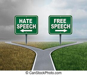 bezplatný řeč, a, nenávidět