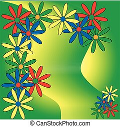 bezva, barvitý, karta, květiny