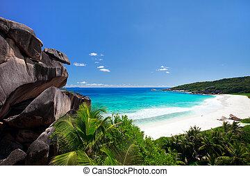 bezvadný, pláž, do, seychelles