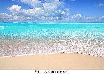 bezvadný, tyrkys, karibský, jasný, moře, pláž, den