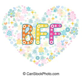 BFF. Best Friends Forever. Greeting card.