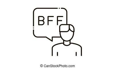 bff, icône, conversation, humain, animation