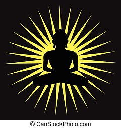 bg, espiritual, silueta, budismo