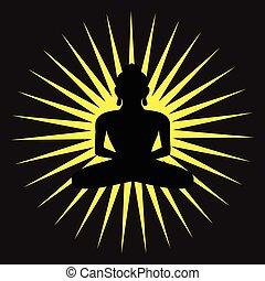 bg, spirituel, silhouette, bouddhisme