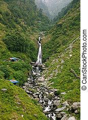 Bhagsu Waterfall near McLeod Ganj, the residence town of Dalai Lama, Dharamsala, India.