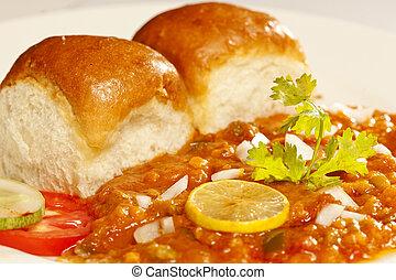 bhaji, 간단한 식사, -, pav, 인도 사람