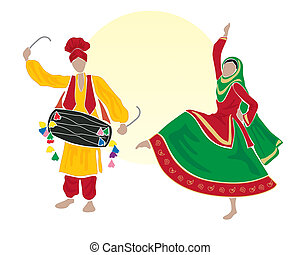 bhangra - an illustration of male and female bhangra dancers...