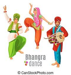 bhangra, concepto, bailando, baile, nacional, hombres, tela, mujer