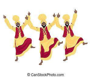 bhangra dance - an illustration of three punjabi men...