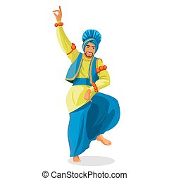 Bhangra dancer in national cloth vector illustration isolated on white.