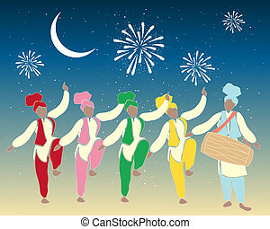 bhangra dancers - an illustration of a group of colorful...