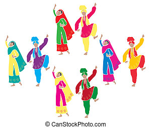an illustration of traditional punjabi bhangra dancing with four couples dressed in colorful costumes on a white background