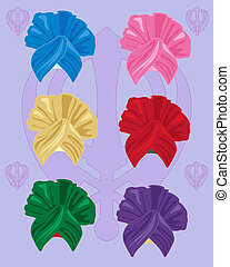 bhangra turbans - an illustration of colorful bhangra style...