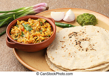 bharta, brinjal, roti, jowar